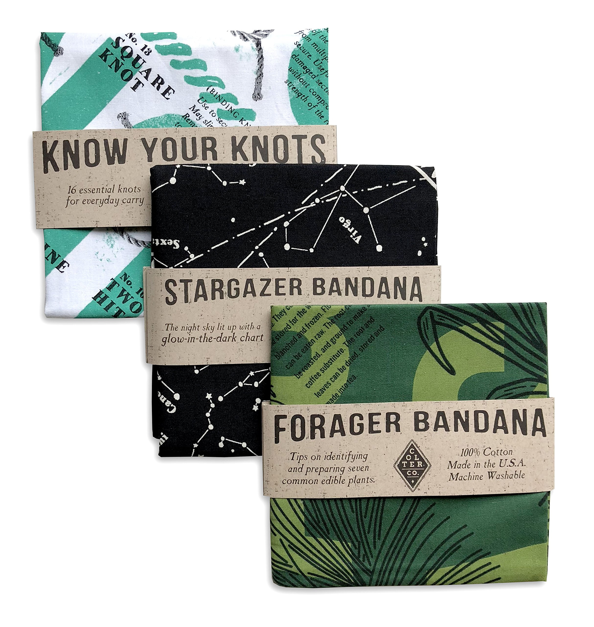 Survival Bandana 3 pack for Camping, Hiking, Fishing | 100% Cotton, Knot Tying Guide, Glow in the Dark Star Chart, Edible Plants Guide Prints, Made in the USA