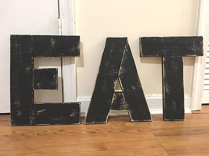 Reclaimed Wood EAT Sign, Wood EAT Letters, Rustic Kitchen Sign, Letters EAT,