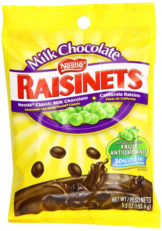 Amazon.com : Nestle Raisinets Milk Chocolate Peg Bag, 5.5-Ounce ...