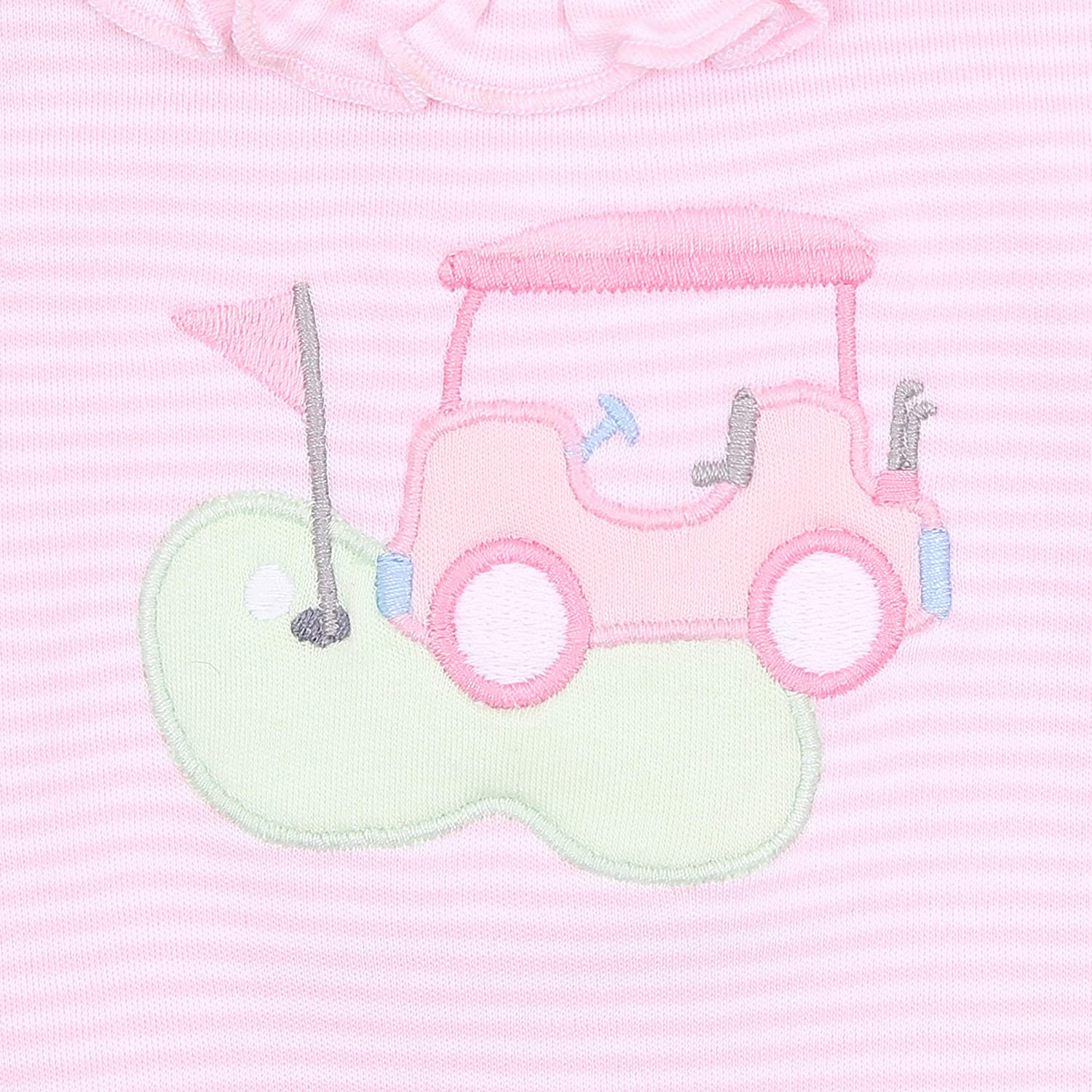 Magnolia Baby Baby Girl to a Tee Applique Ruffle Footie Pink