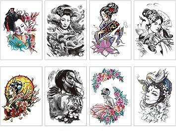 Top PAMO 8 fogli adesivi temporanei tatuaggi per adulti geisha PC29