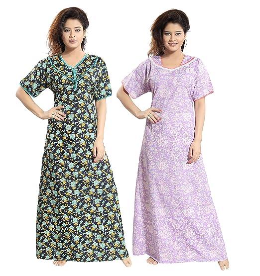 e7dac85ab TUCUTE Women s Cotton Beautiful Floral Print Nighty Night Gown Night Dress  Nightwear (Free Size) (Pack of 2 Pcs) Smart Combo of 2 Pieces Cotton Nighty  Night ...