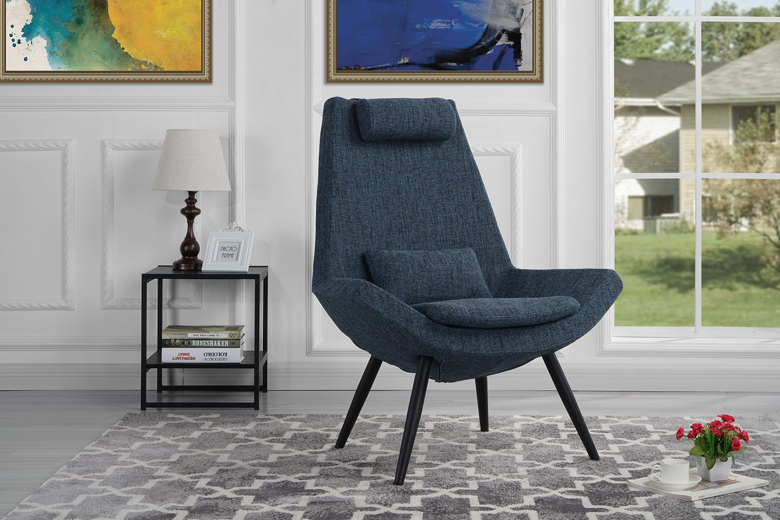 Modern Contemporary Linen Fabric Living Room Accent Chair (Dark Blue)
