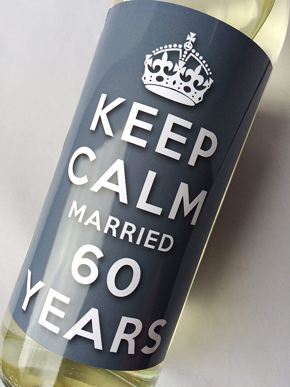 Keep Calm 60th Diamond Wedding Anniversary Wine bottle label Celebration Gift for Women and Men.