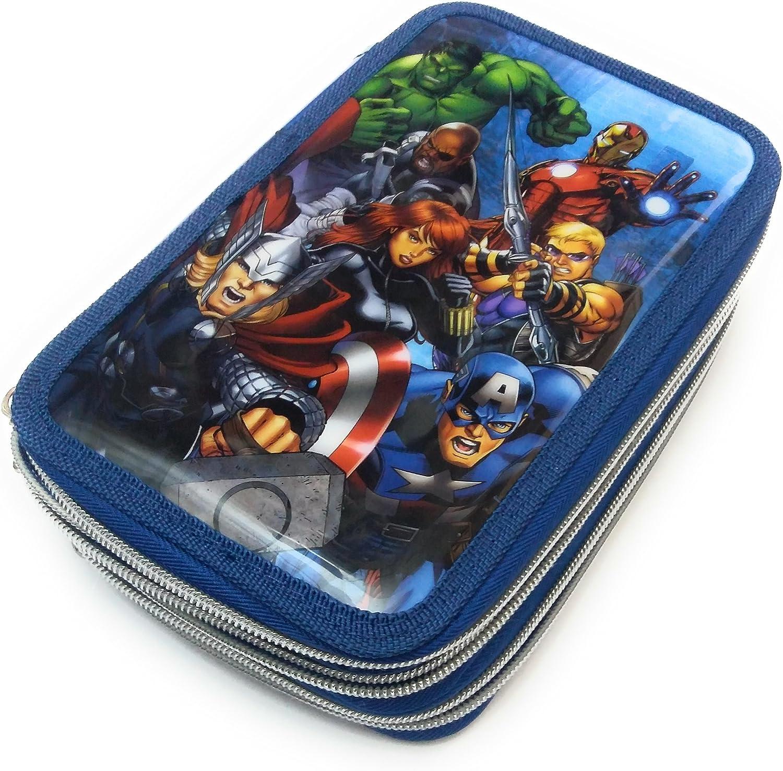 Marvel Avengers Federtasche Federmappe gef/üllt mit 3 F/ächer