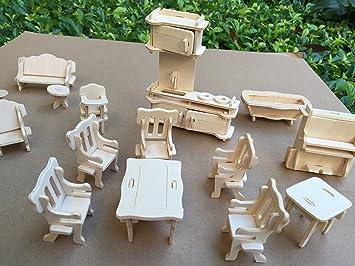 Amazoncom Dollhouse Miniature Furniture DIY Kit Wood house Toy 1