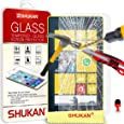 FOR Nokia Lumia 520 - SHUKAN® Premium Tempered Glass Crystal Clear LCD Screen Protector Guard & Polishing Cloth RED 2 IN 1 Dust Stopper [TG401 - SVL3]
