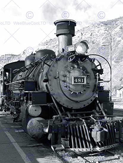 Photograph black white train steam engine front fine art print poster cc1473