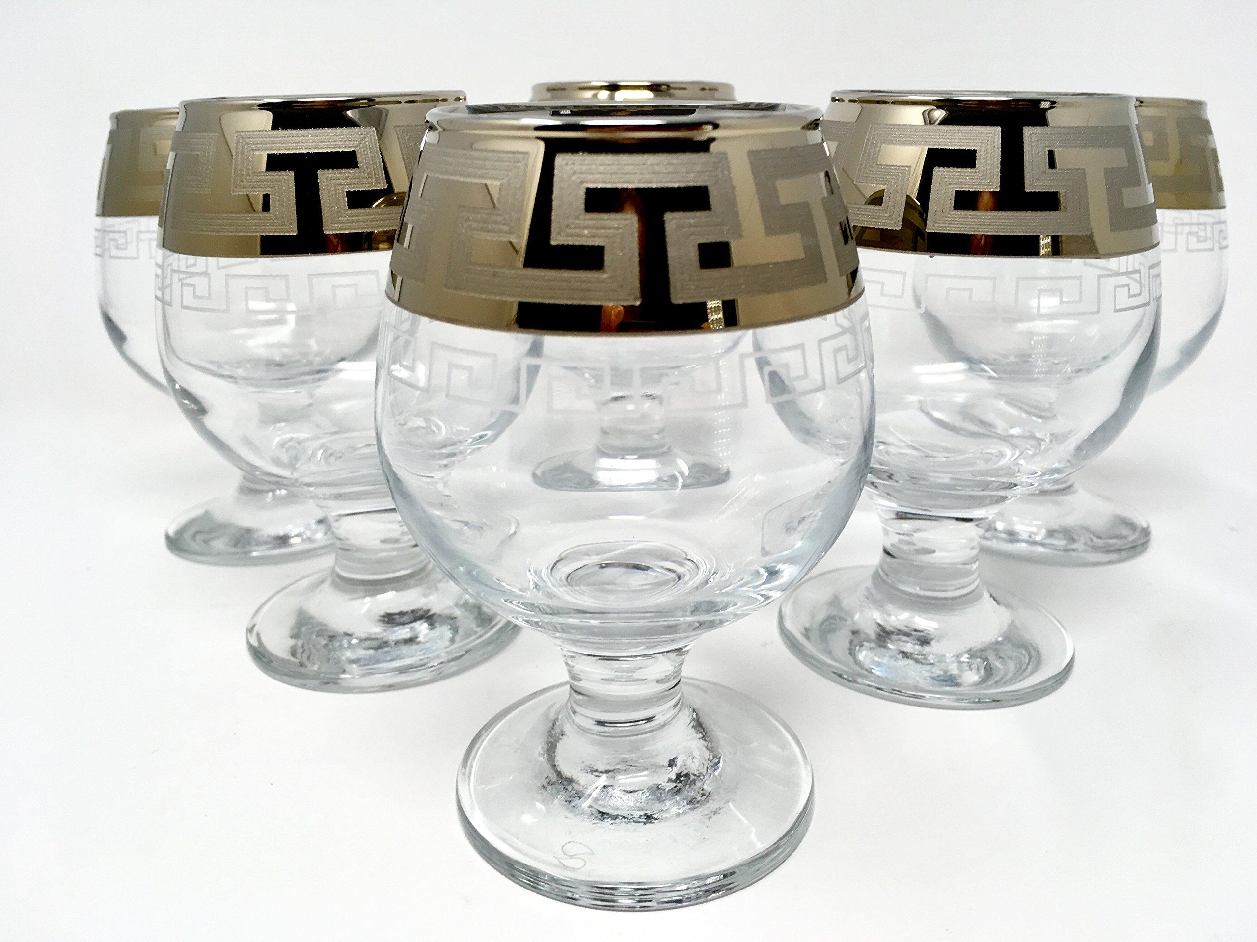 CRYSTAL GLASS SNIFTER GLASSES 8oz./250ml. PLATINUM PLATED SET OF 6 COGNAC BRANDY ARMAGNAC CALVADOS WHISKEY GLASSES ENGRAVED VINTAGE GREEK DESIGN CLASSIC STEM GOBLETS by VelvetPlace (Image #1)