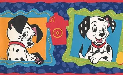 101 dalmatians disney cartoon wallpaper border black white blue