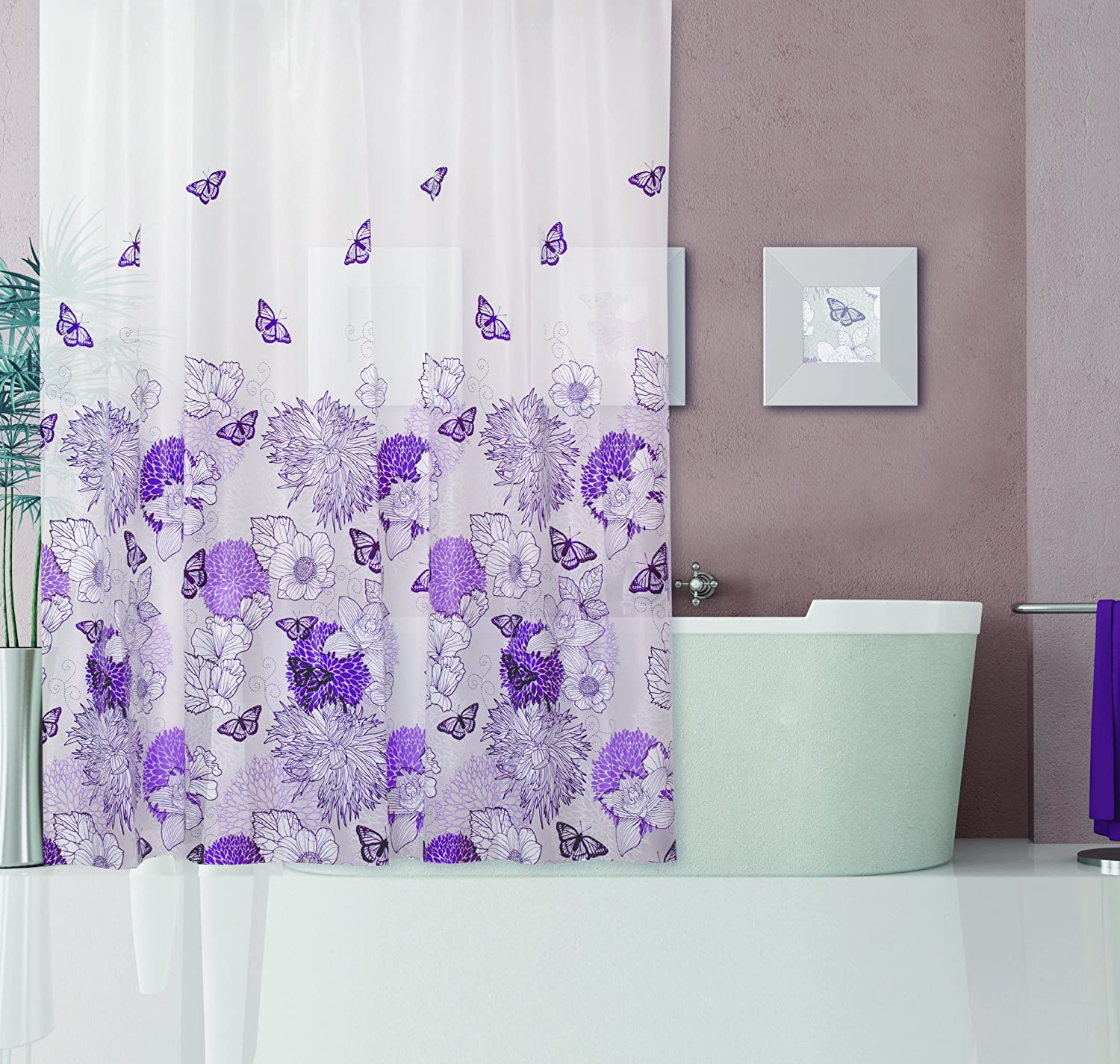 Dainty Home 13-Piece Garden Containing Shower Curtain and 12 Metal Hooks Set, Purple 13GAPU