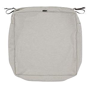 Classic Accessories Montlake Patio Seat Cushion Slip Cover, Heather Grey, 25x25x5