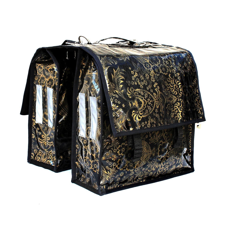 Sacoche vé lo pour porte-bagage Sacoche de selle Pack Sacoche en toile ciré e pour femme, avec poigné e et bandouliè re amovible, artisanal Eden or avec poignée et bandoulière amovible