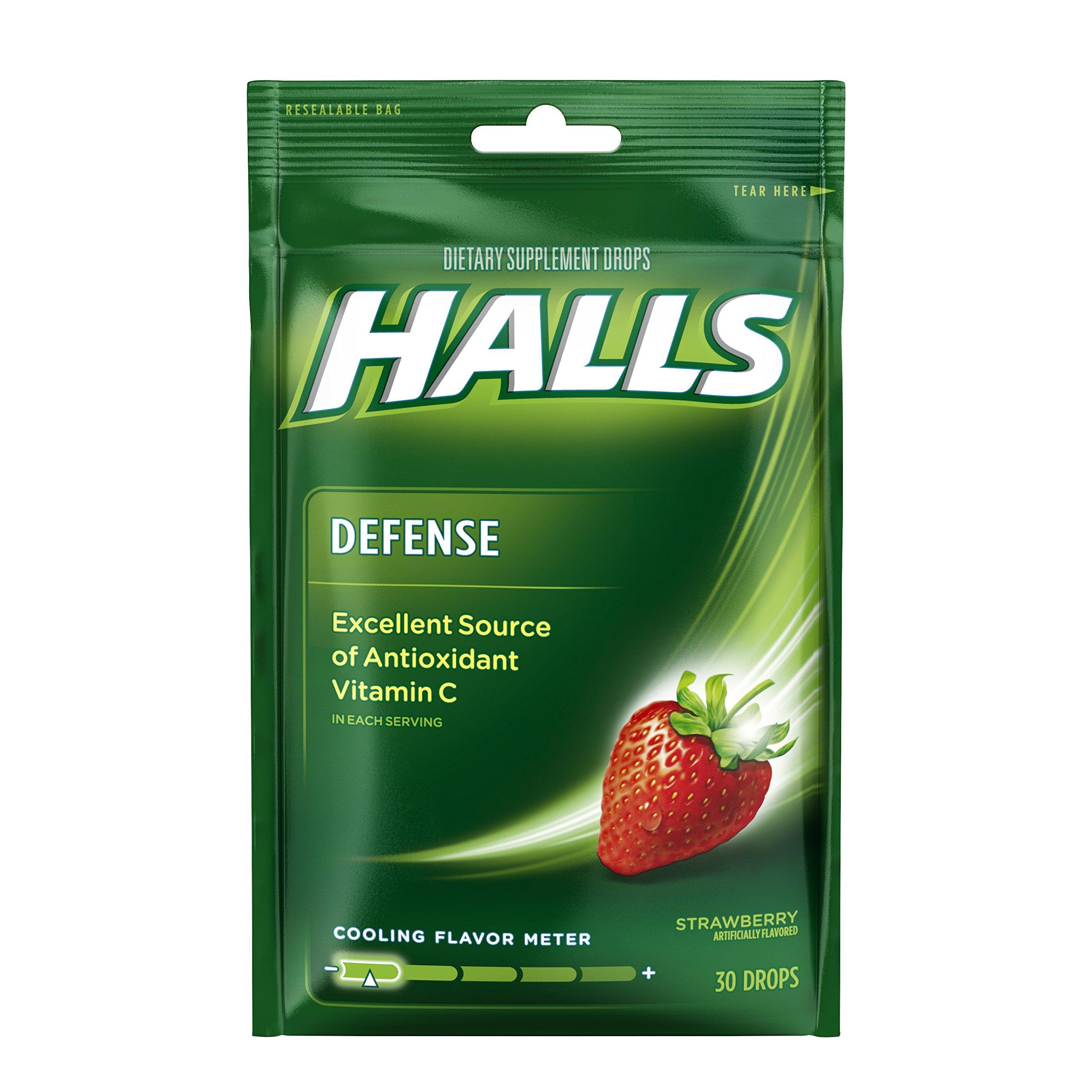 Halls Defense Strawberry Vitamin C Drops - 360 Drops (12 bags of 30 drops)