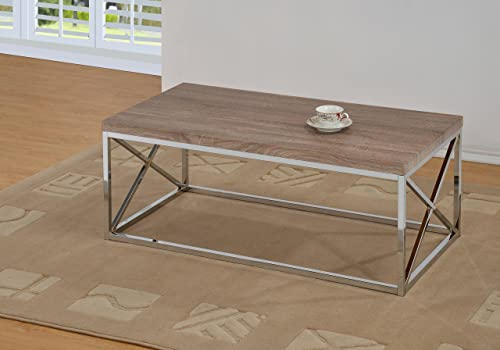 Reclaimed-Look Chrome Metal Cocktail Coffee Table, Dark Sonoma