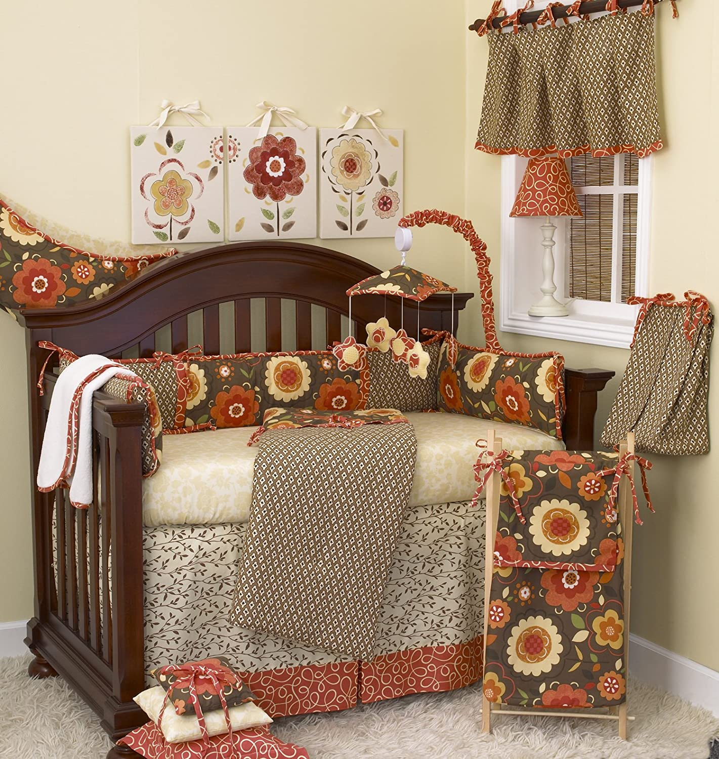 Cotton Tale Designs Peggy Sue 8 Piece Nursery Crib Bedding Set - 100% Cotton - Multi Colored Country Floral Brown Orange Yellow Tan Green Garden Flowers with Swirls - Baby Shower Gifts for Girls