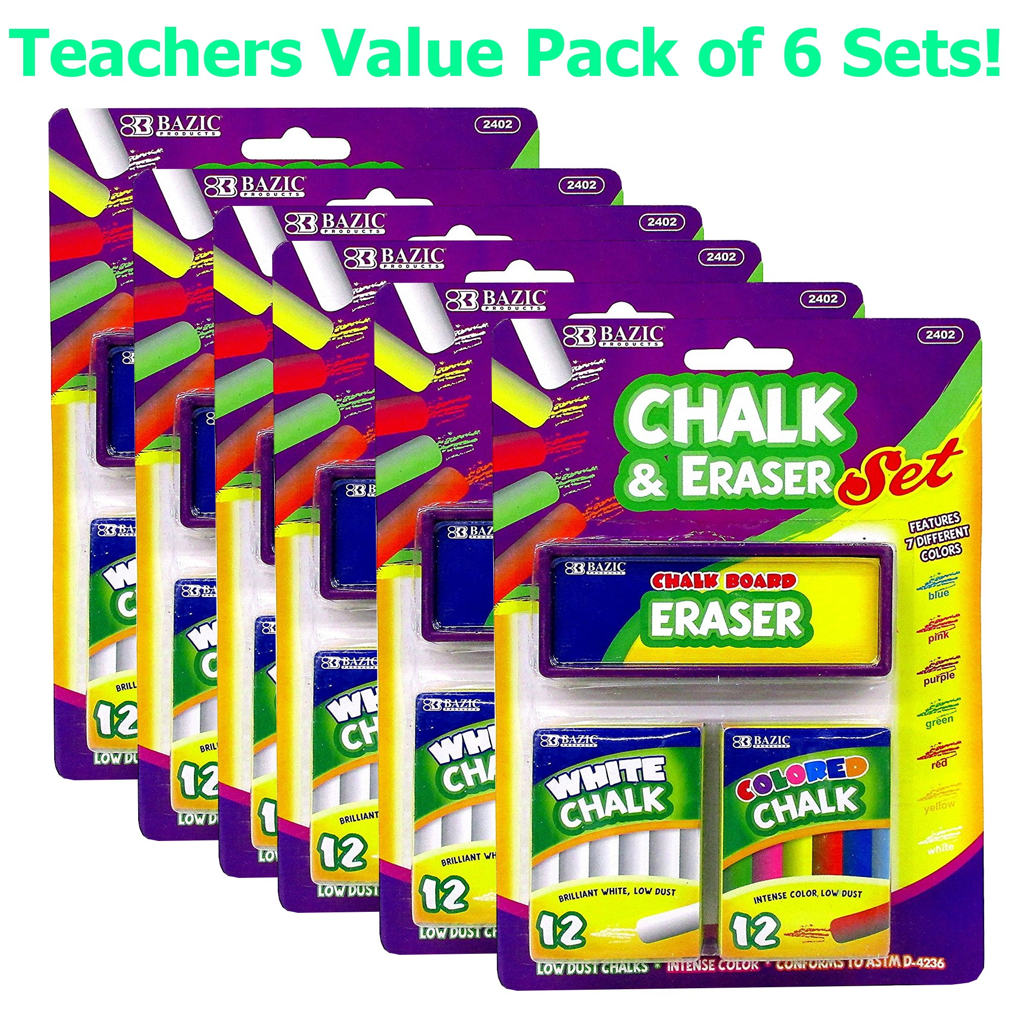 6 Pk, 12 Color and 12 White Chalk with Eraser Sets, Assorted by Bazic Products (Image #1)