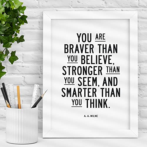 Amazoncom You Are Braver Than You Believe Typography Poster Wall