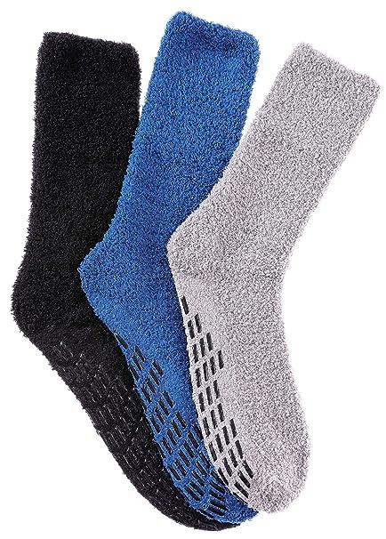 top design promo codes on sale RONGBLUE Mens Non Skid/Slip Fuzzy Socks Super Soft Warm Home Winter Slipper  Socks 3 Pairs