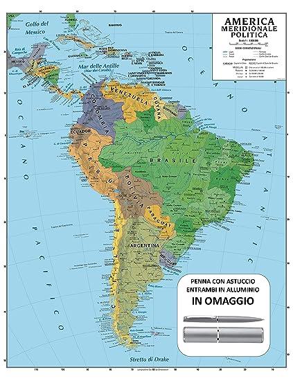 Cartina Geografica America.Carta Geografica Murale America Meridionale 100x140 Bifacciale