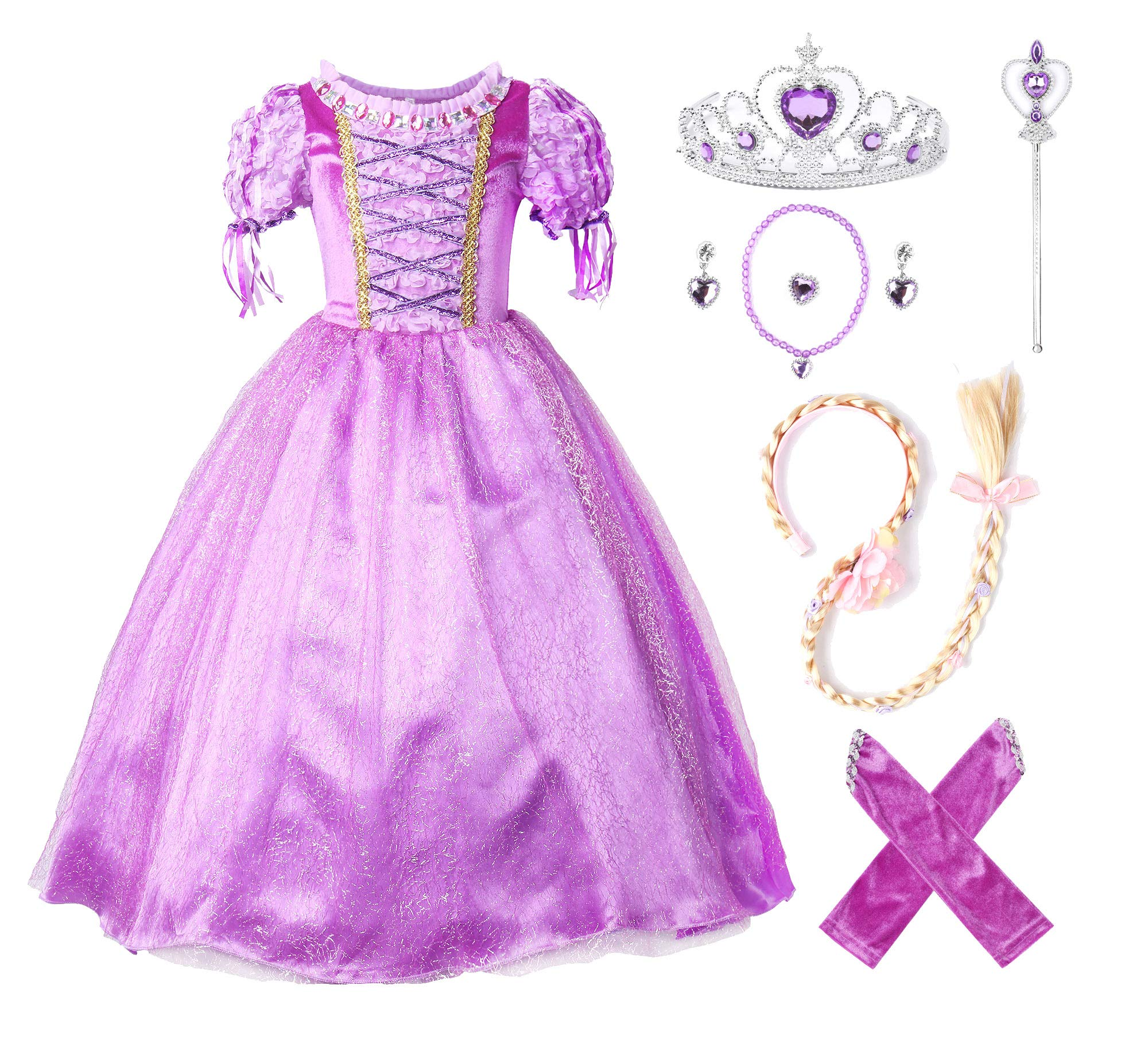JerrisApparel New Princess Rapunzel Party Dress Costume (5, Purple with Accessories)
