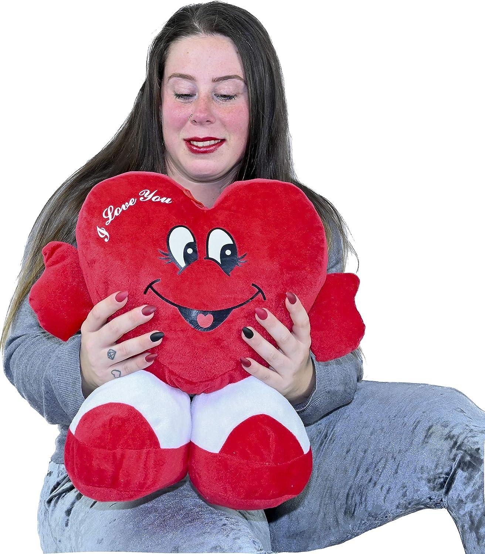 ML Regalo para el Dia de la Madre Toys Corazón de Peluche con pies. Te Quiero. de Altura 35 cms. Tiene un Mensaje de 'I Love You'