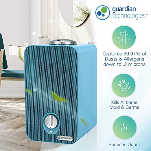 "Germ Guardian AC4150BLCA 11"" 4-in-1 HEPA Filter Air Purifier for Home & Kids Room"