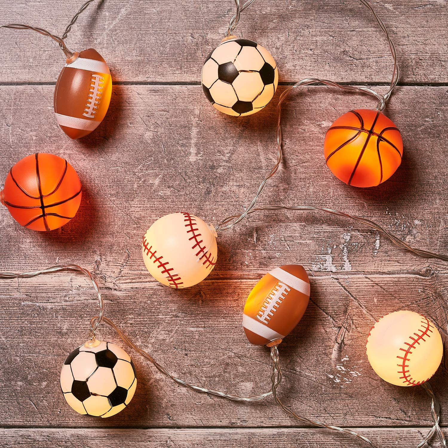 Lights4fun, Inc. 10 Sports Ball Indoor Battery Operated LED String Lights