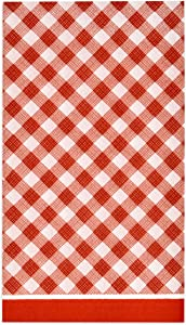 100 Red Gingham Guest Napkins Disposable Paper Pack Red & White Checkered Plaid Dinner Hand Napkin for Picnic Barbecue Grilling Bathroom Wedding Birthday Party Baby & Bridal Shower Decorative Towels