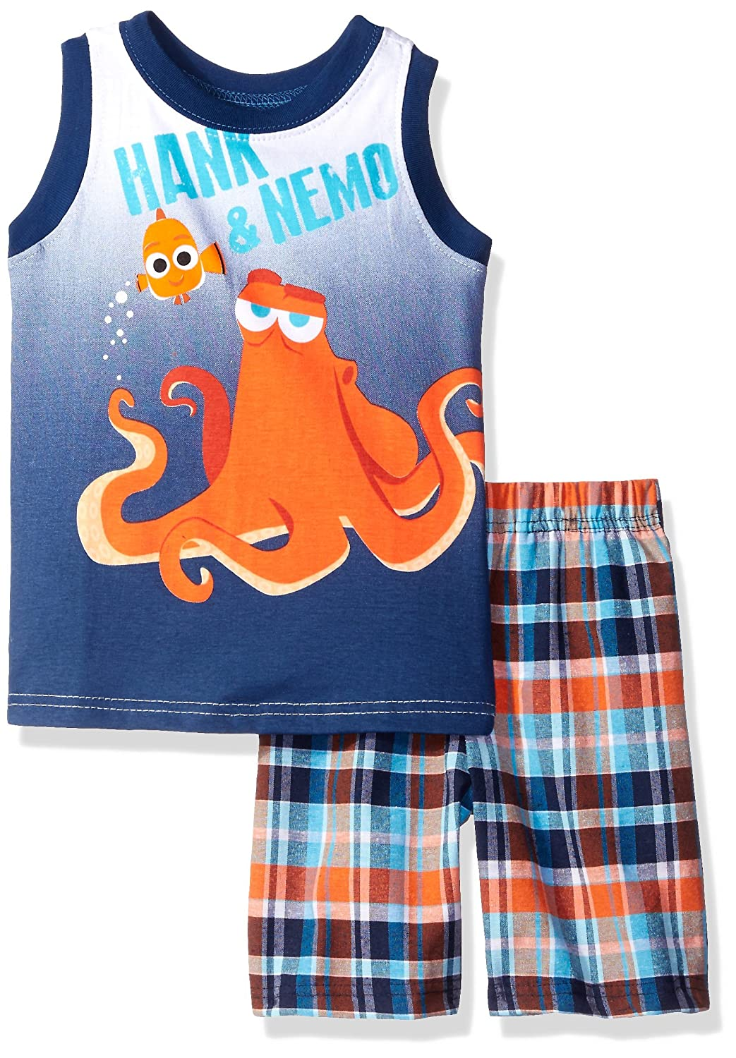 Disney Boys' 2 Piece Finding Dory Hank and Nemo Plaid Muscle Tee Short Set 535