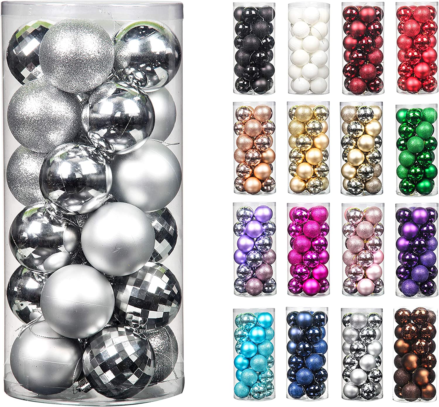 24pcs 2.36in Christmas Decoration Balls Shatterproof Color Set Ornaments Balls for Festival Wedding Home Party Decors Xmas Tree Hanging ( Silver)