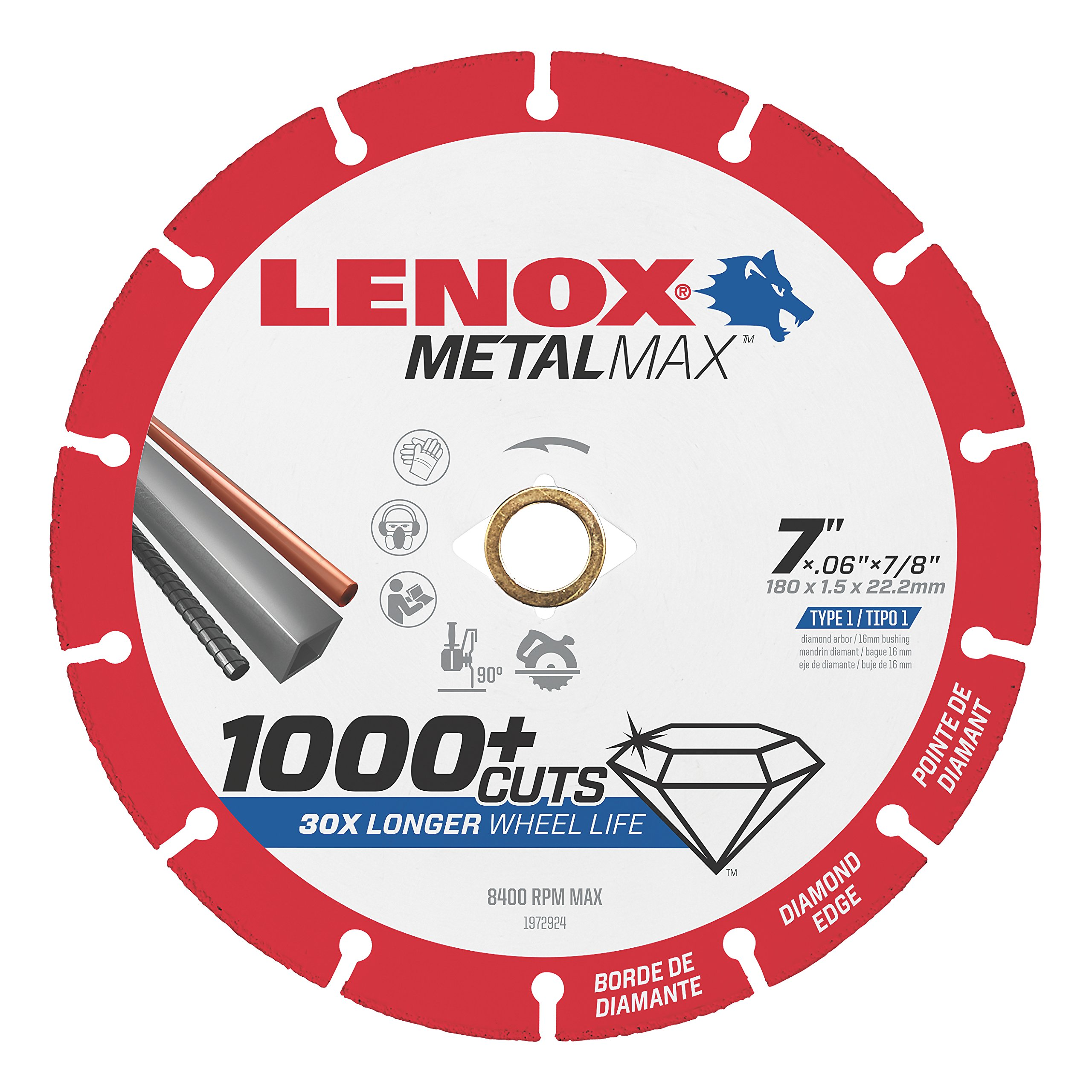 Lenox Tools 1972924 METALMAX Diamond Edge Cutoff Wheel, 7'' x 7/8'' by Lenox Tools (Image #1)