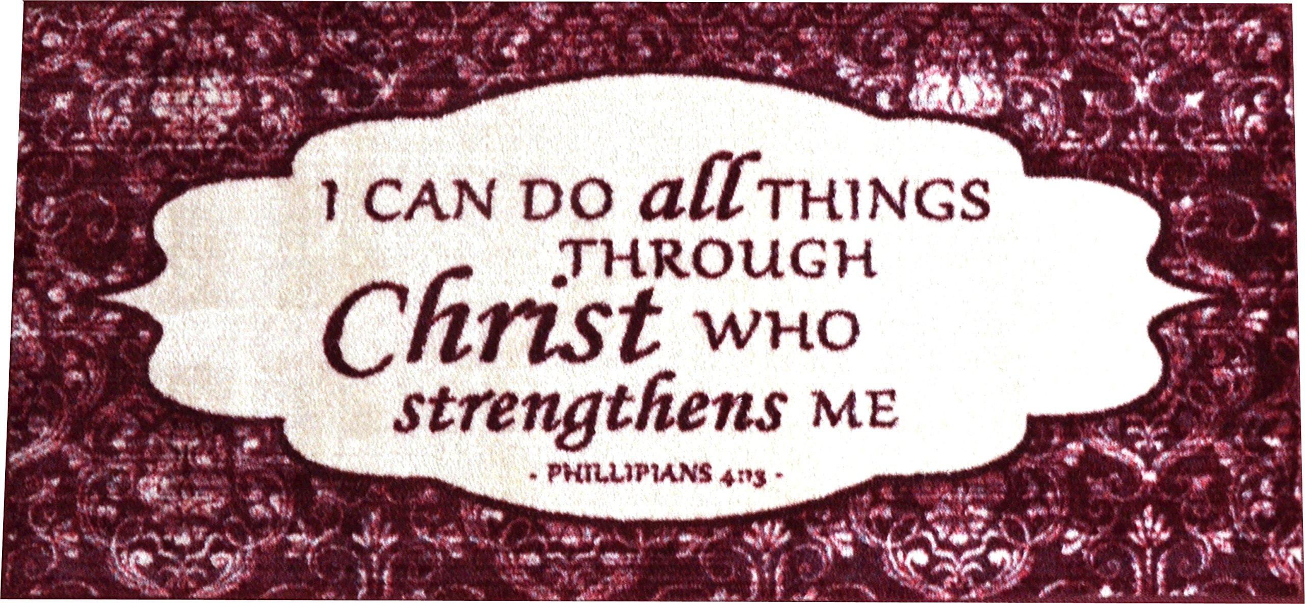 Dean Washable Non-Skid ''Philippians 4:13'' Christian Faith Bible Based Carpet Runner Mat/Rug 20'' x 44'' Color: Cranberry by Dean Flooring Company