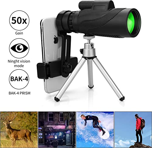 Monocular Telescope, 12X50 HD Low Night Vision Waterproof- Shockproof High Power and Phone Adapter, Tripod Holder for Bird Watching Hunting Camping Hiking Travelling Secen Best Telescope 2020