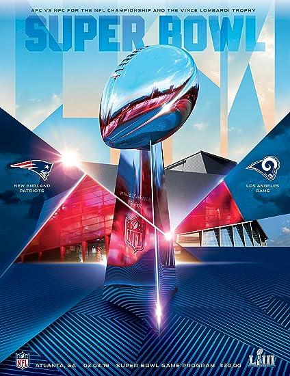 d91dcb8c2f152b Super Bowl 53 LIII 2019 Official Stadium Holographic Programme - New  England Patriots v LA Rams - 3 Feb 2019: Amazon.co.uk: Sports & Outdoors