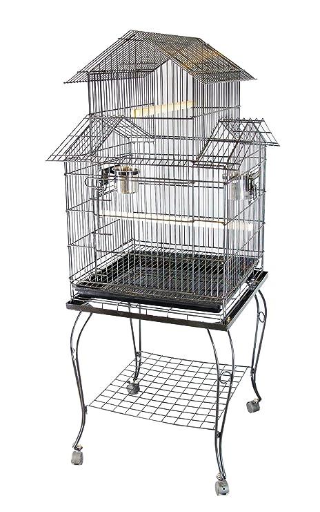 FoxHunter Soporte de metal grande para jaula de pájaros para loro, guacamayo,