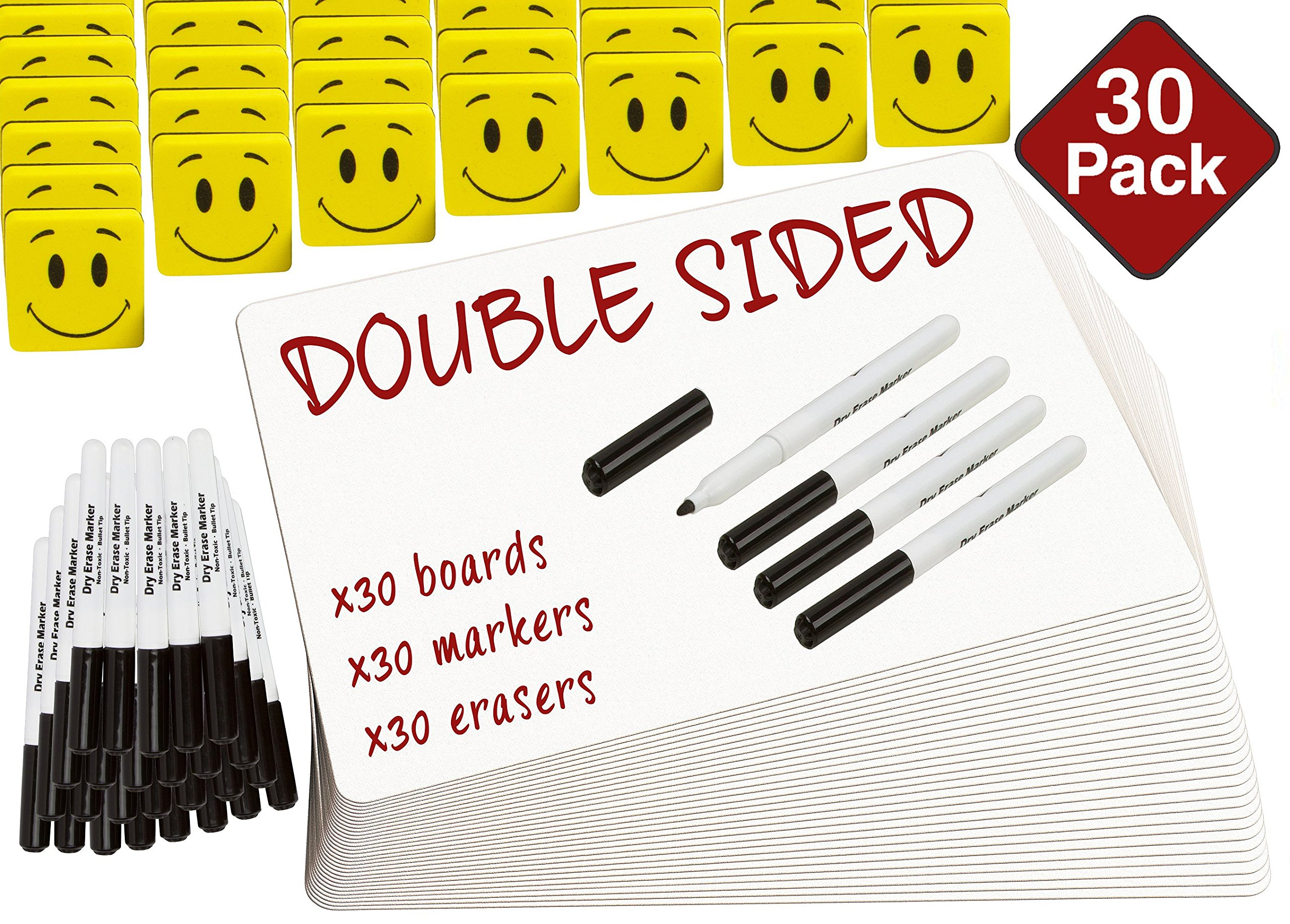 "DOUBLE SIDED Dry Erase Lapboards Pack Bulk Includes 30 Pcs 9 x 12"" Inch Mini Small Whiteboards With Erasers and Markers For School Students Write Large Classroom Drawing Interactive Office Supplies"