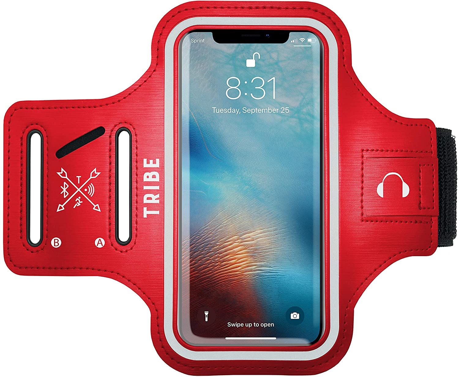 TRIBE Water Resistant Cell Phone Armband Case for iPhone Xs Max, XR, 8 Plus, 7 Plus, 6 Plus, 6S Plus, Samsung Galaxy S9 Plus, S8 Plus, A8 Plus, Note 4/5/8/9 with Adjustable Elastic Band & Key Holder