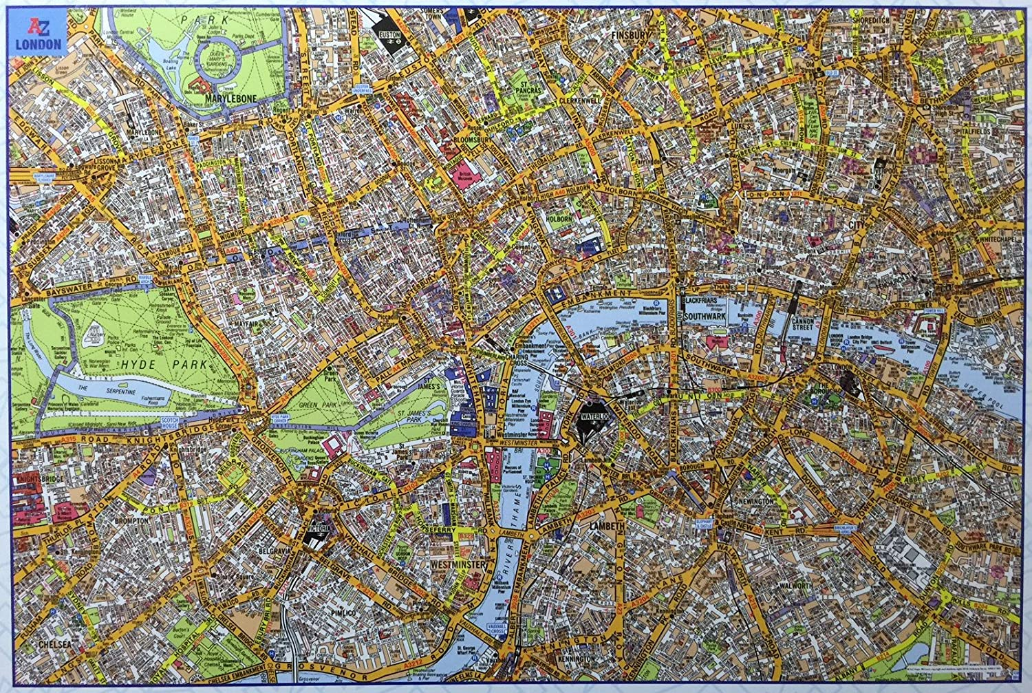 Map Of The City Of London.Amazon Com City Of London Map Jigsaw Puzzle 1000 Pieces Toys Games