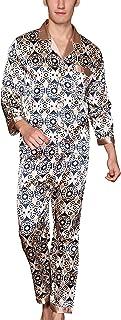 Yanqinger Herren Schlafanzug aus Kunstseide Pyjama Langen Ärmeln Nachthemd + Pyjamahose Zweiteiliger Elegant Paisley Homewear Größe XL - 3XL
