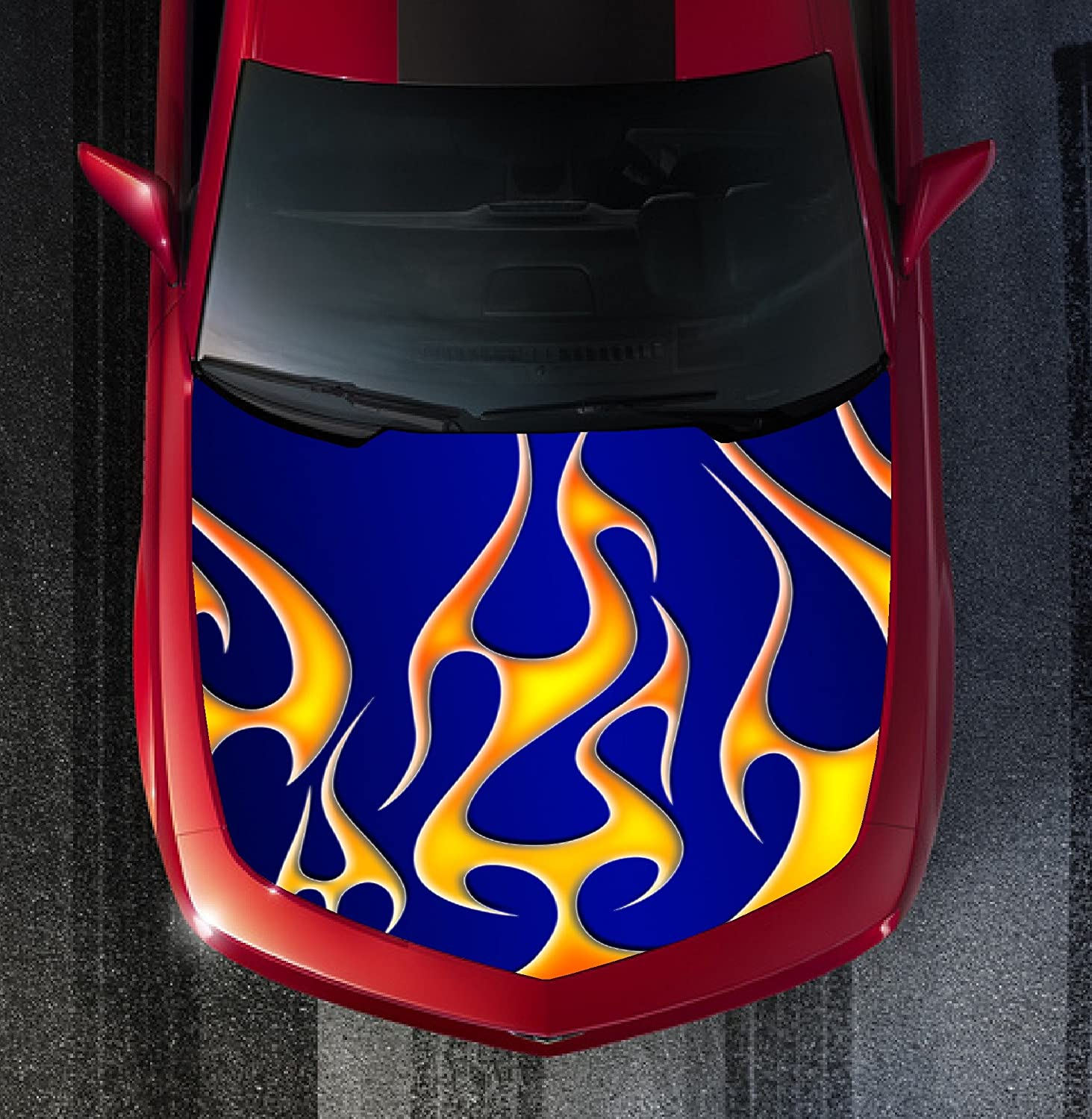 H40 FIRE FLAMES TRIBAL Hood Wrap Wraps Decal Sticker Tint Vinyl Image Graphic