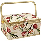 Sewing Basket with Tulip Floral Print Design- Sewing Kit Storage Box with Removable Tray, Built-in Pin Cushion and…