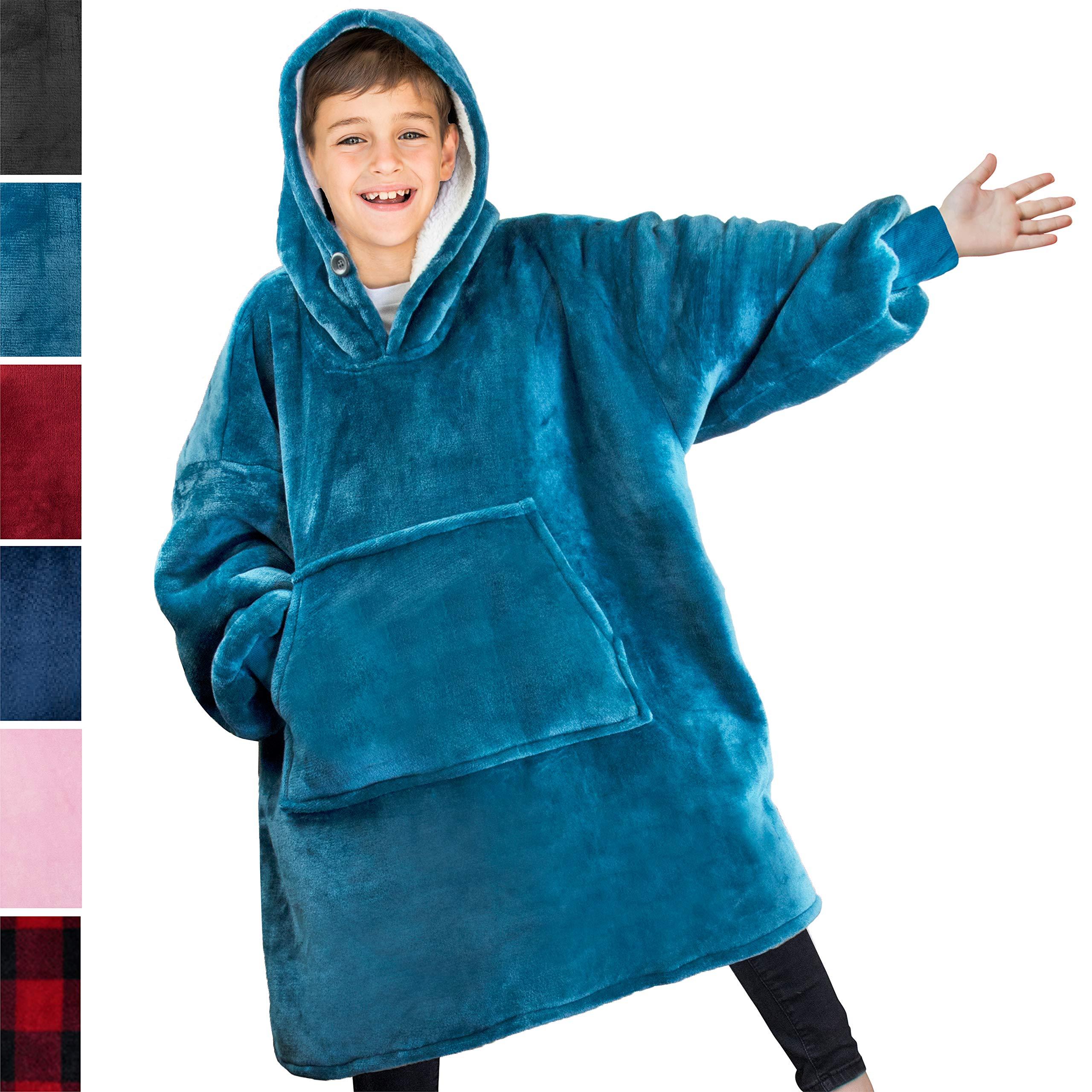 PAVILIA Blanket Sweatshirt with Sherpa Lining for Kids, Children | Super Soft, Warm, Reversible Hoodie Blanket for Boys, Girls | Giant Hood, Oversized Fleece Pullover with Pocket (Sea Blue) by PAVILIA