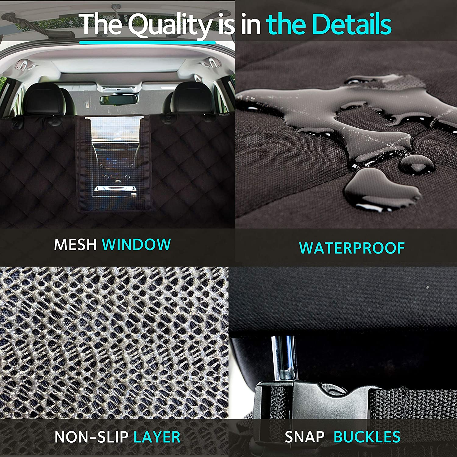 """KULULU SUV Cargo Liner for Dogs, Heavy Duty Waterproof Non Slip Durable Liner, Mesh Window for Stress Free Travel, Pet Cargo Cover with Bumper Flap Protector, Universal Fit 55"""" W X 93"""" L : Pet Supplies"""