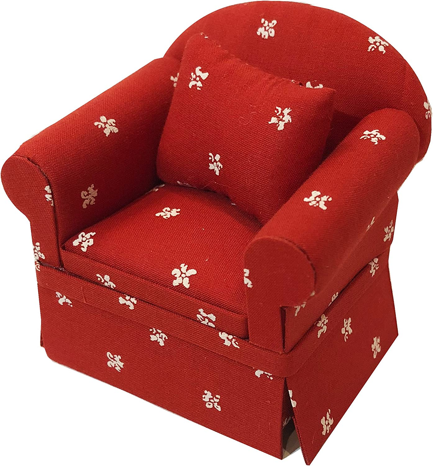 Inusitus Miniature Dollhouse Sofa Arm Chair - Dolls House Furniture Couch - White with Red Pattern - 1/12 Scale (Red White Stars)