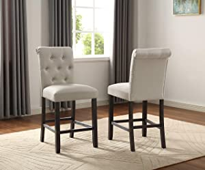 Roundhill Furniture Hendley Solid Wood Tufted Counter Height Stools, Set of 2, Tan