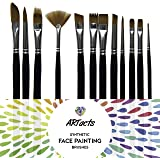 ARTacts - Art Paint Brush Set for Watercolor, Acrylics, Oil & Face Painting - -A Set of 12 Premium Quality Brushes Also Great for Kids