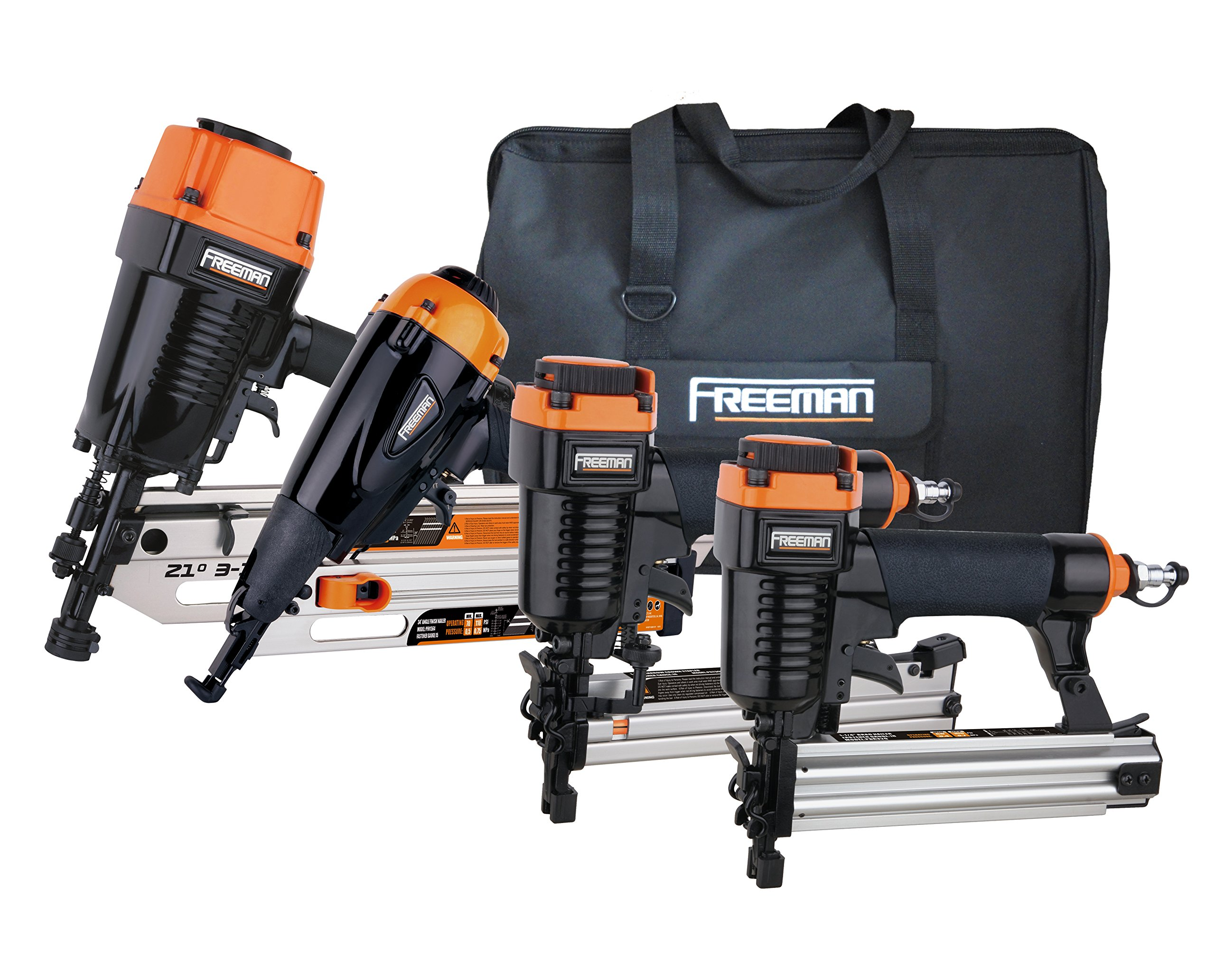 Freeman P4FRFNCB Pneumatic Framing & Finishing Combo Kit with Canvas Bag (4Piece) Nail Gun Set with Framing Nailer, Finish Nailer, Brad Nailer, & Narrow Crown Stapler by Freeman