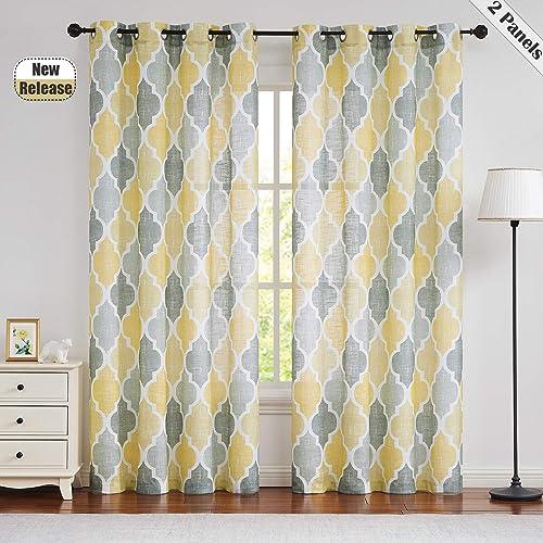 Beauoop Yellow Gray Sheer Window Curtains Moroccan Tile Print Panels Quatrefoil Linen Texture Grommet Drapes