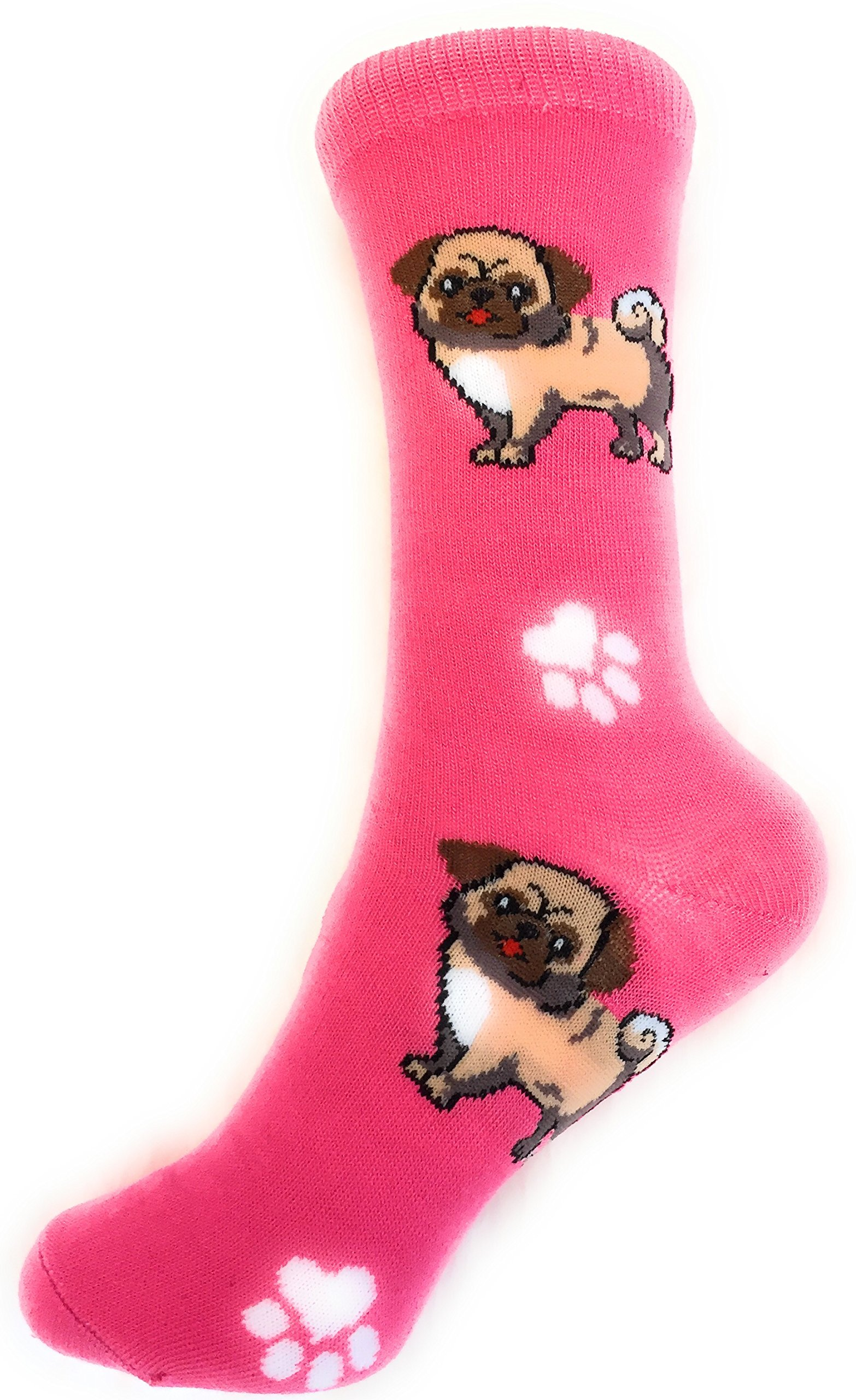 Socks-Women Crew Novelty Comfy Cozy, Trendy, Fashionable and Fun Patterns To Love (PUGS-PINK)